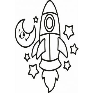Трафарет Ракета №2 А5 для раскрашивания песком