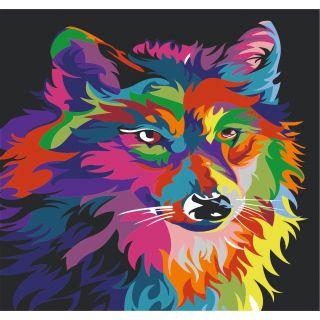 Трафарет Радужный Волк А3
