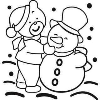 Трафарет Снеговик с мишкой А5 для раскрашивания песком