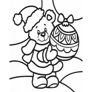 Трафарет Мишка с игрушкойА4, Трафарет для раскрашивания песком,