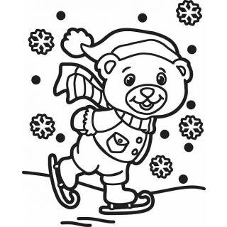 Трафарет Мишка на коньках A5 для раскрашивания песком,